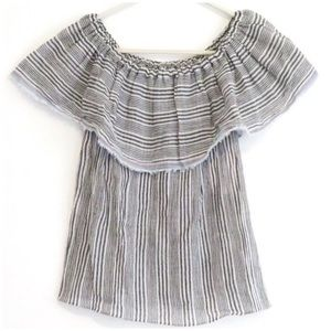Bailey 44 Off The Shoulder Ruffled Striped Top XS